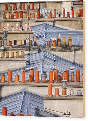 Detail Of Traditional Rooftops In Paris Wood Print