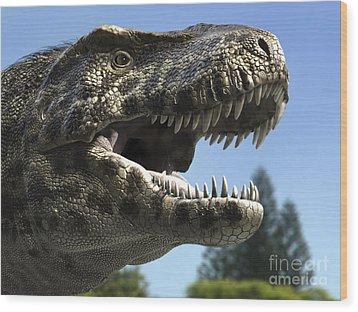 Detailed Headshot Of Tyrannosaurus Rex Wood Print by Rodolfo Nogueira