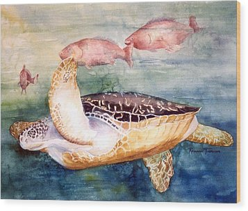 Determined - Loggerhead Sea Turtle Wood Print