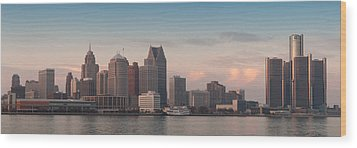 Detroit At Dusk Wood Print by Andreas Freund