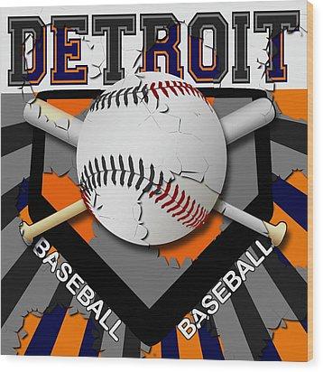 Detroit Baseball  Wood Print by David G Paul