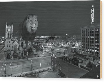 Detroit Lions Wood Print by Nicholas  Grunas