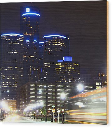 Detroit Night Scape Wood Print by Rexford L Powell