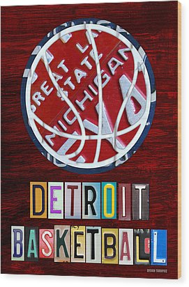 Detroit Pistons Basketball Vintage License Plate Art Wood Print by Design Turnpike