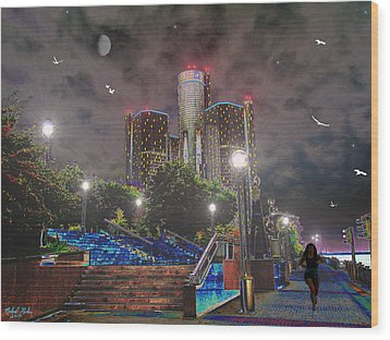 Detroit Riverwalk Wood Print by Michael Rucker