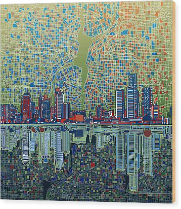 Detroit Skyline Abstract 3 Wood Print