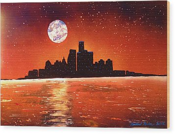 Wood Print featuring the painting Detroit Skyline by Michael Rucker