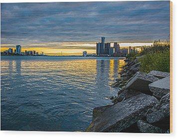 Detroit Sunset Wood Print