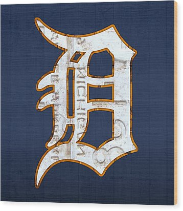 Detroit Tigers Baseball Old English D Logo License Plate Art Wood Print by Design Turnpike