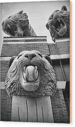 Detroit Tigers Comerica Park Tiger Statues Wood Print by Gordon Dean II
