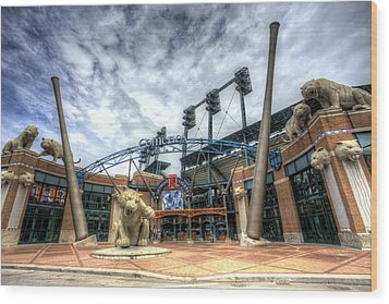 Wood Print featuring the photograph Detroit Tigers Stadium Entrance by Shawn Everhart