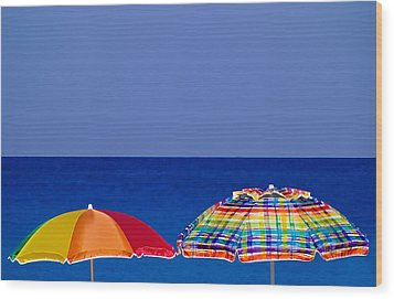 Deuce Umbrellas Wood Print by Gary Dean Mercer Clark