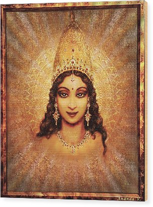 Wood Print featuring the mixed media Devi Darshan by Ananda Vdovic
