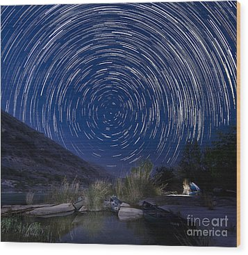 Devils River Star Trails Wood Print