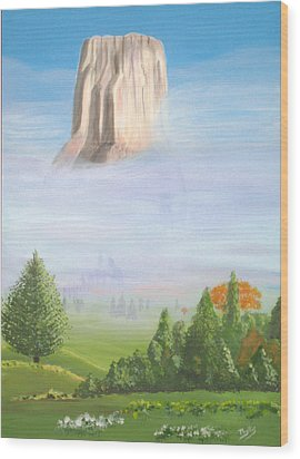 Wood Print featuring the painting Devil's Tower  by Phyllis Kaltenbach