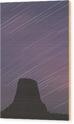 Wood Print featuring the photograph Devils Tower Star Trails by Judi Baker