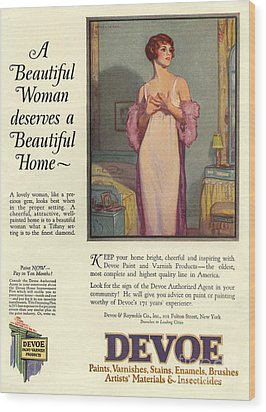 Devoe Varnish 1920s Usa Cc Portraits Wood Print by The Advertising Archives