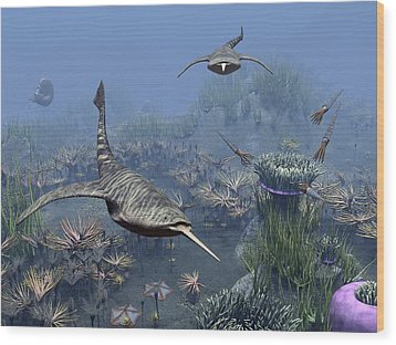 Devonian Sea, Artwork Wood Print by Science Photo Library