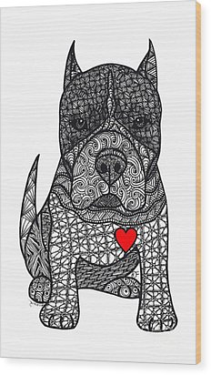 Devotion- American Pitbull Terrier Wood Print