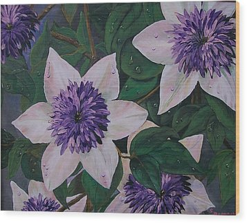 Wood Print featuring the painting Clematis After The Rain by Sharon Duguay