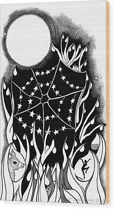 Wood Print featuring the digital art Dewdrop Stars by Carol Jacobs