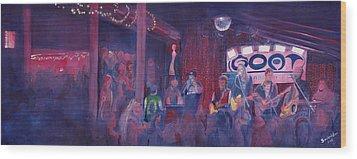 Dewey Paul Band At The Goat Nye Wood Print by David Sockrider
