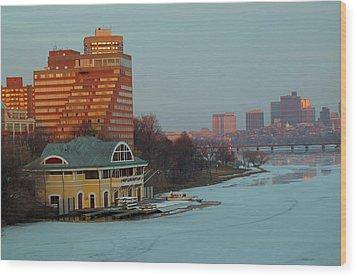 Dewolfe Boathouse Riverside Wood Print by Barbara McDevitt