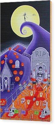 Dia De Los Muertos Jack Skellington Wood Print