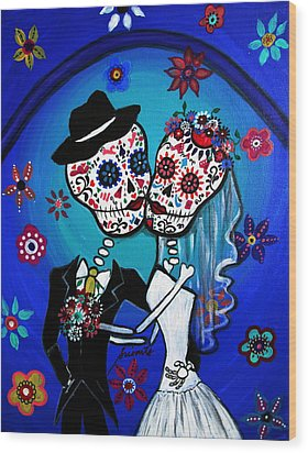 Dia De Los Muertos Kiss The Bride Wood Print