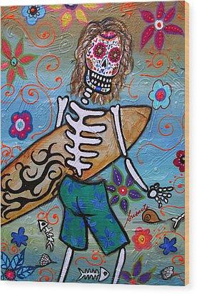 Dia De Los Muertos Surfer Wood Print