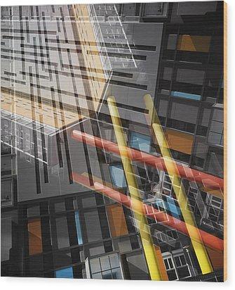 Diagonal Mondrian Wood Print