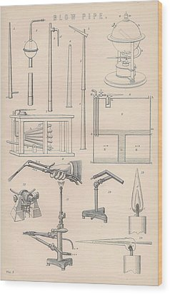 Diagrams And Parts Of A Blow Pipe Wood Print by Anon