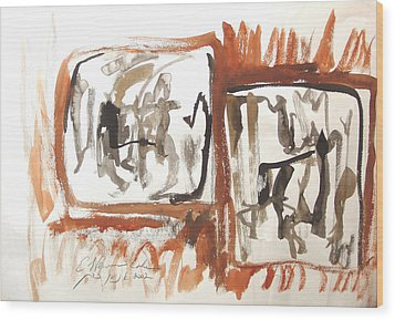 Wood Print featuring the painting Dialogue Of Squares by Esther Newman-Cohen