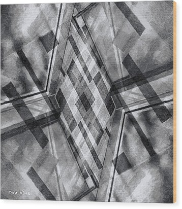 Diamond Cross  Bw Wood Print