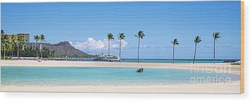 Diamond Head And The Hilton Lagoon 3 To 1 Aspect Ratio Wood Print