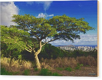 Wood Print featuring the photograph Diamond Head From Tantalus Drive by Aloha Art