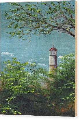 Diamond Head Lighthouse Wood Print by Sherry Robinson