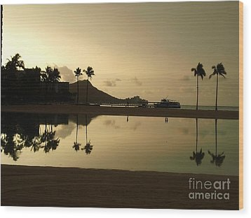Wood Print featuring the photograph Diamond Head Reflection by Laura  Wong-Rose