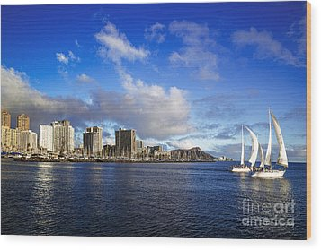 Wood Print featuring the photograph Diamond Head Sail Boat by Aloha Art