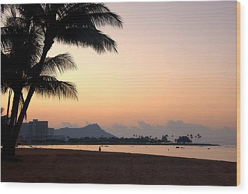 Diamond Head Sunrise - Honolulu Hawaii Wood Print by Brian Harig