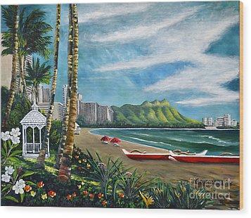 Diamond Head Waikiki Wood Print