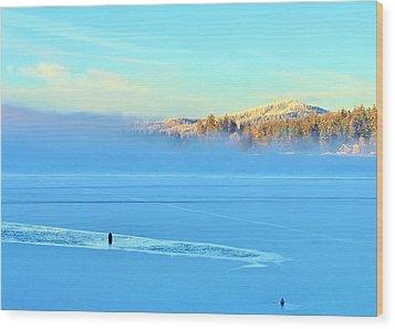 Diamond Lake Frozen Wood Print