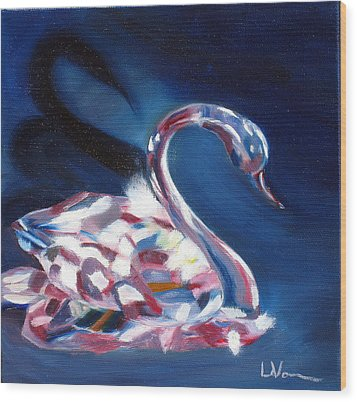 Wood Print featuring the painting Diamond Swarovski Swan by LaVonne Hand