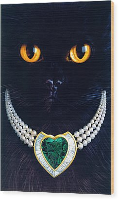 Diamonds Are A Cats Best Friend Wood Print by Andrew Farley