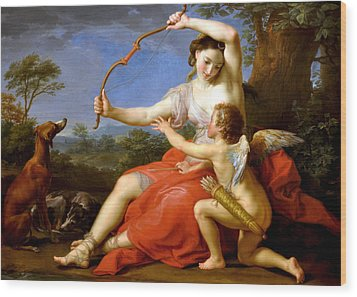 Wood Print featuring the digital art Diana And Cupid by Pompeo Batoni