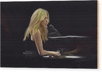 Diana Krall Wood Print by G Cannon