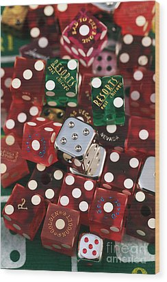 Dice Wood Print by John Rizzuto