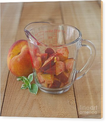 Diced Peaches Wood Print by Kay Pickens