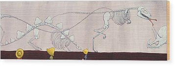 Did Dinosaurs Eat People Wood Print by Christy Beckwith