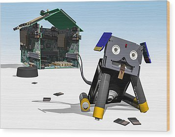Didgie The Digital Dog Wood Print by Randy Turnbow